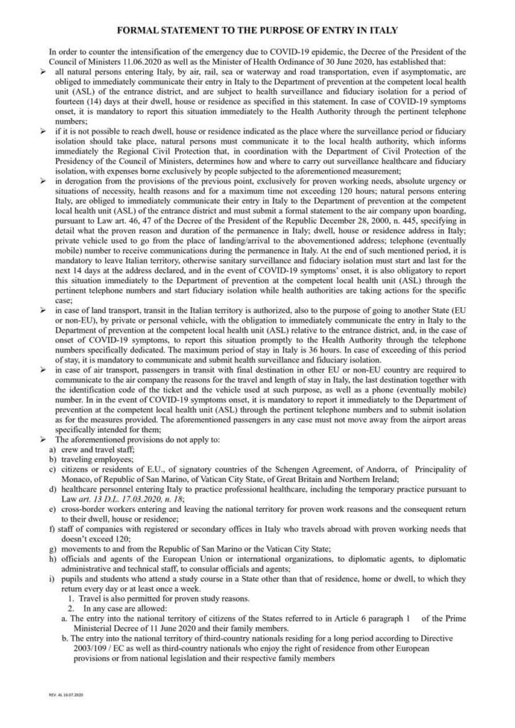 Новые правила въезда в Италию в 2020 | Недвижимость Италии